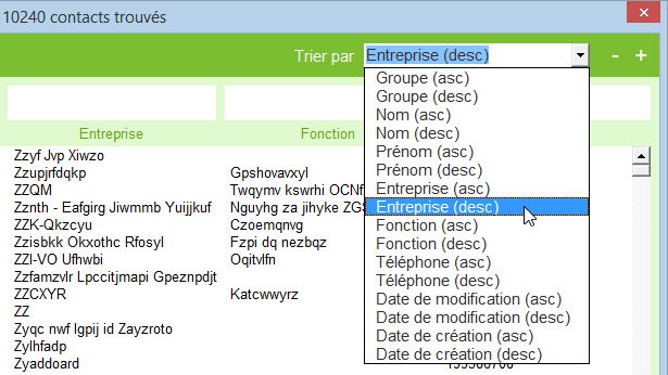 excel gestion contacts tri